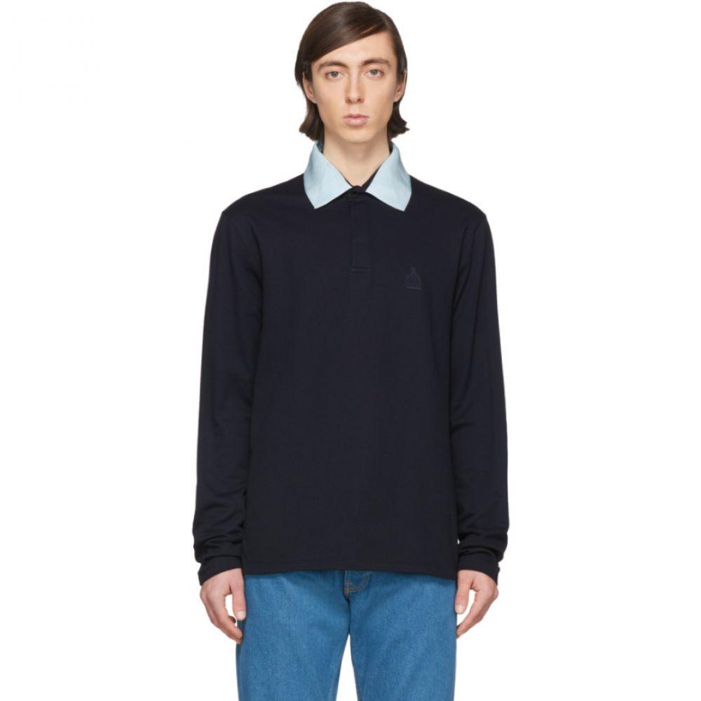 ランバン Lanvin メンズ ポロシャツ トップス【Navy Grosgrain Collar Long Sleeve Polo】Navy blue