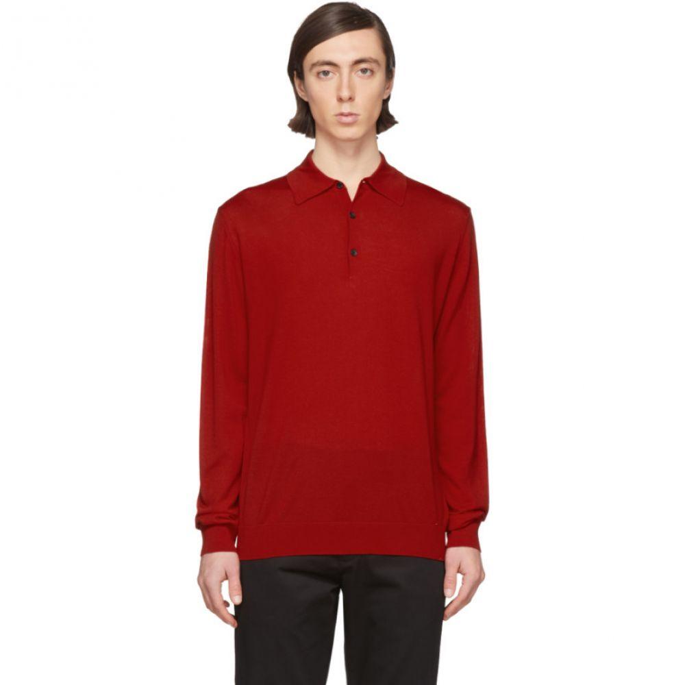 ランバン Lanvin メンズ ポロシャツ トップス【Red Wool Long Sleeve Polo】Red
