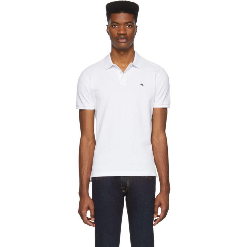エトロ Etro メンズ ポロシャツ トップス【White Logo Polo】White