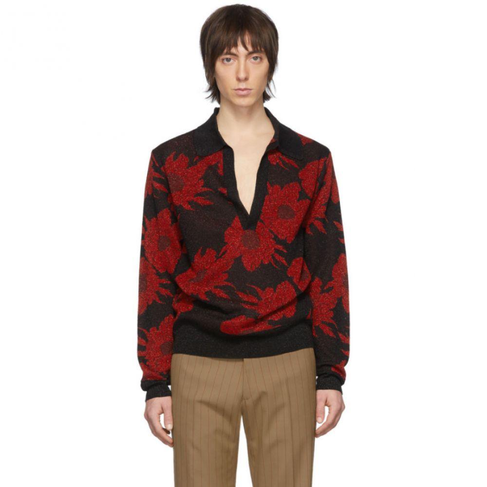 ドリス ヴァン ノッテン Dries Van Noten メンズ ポロシャツ トップス【Black & Red Jerome Polo】Red