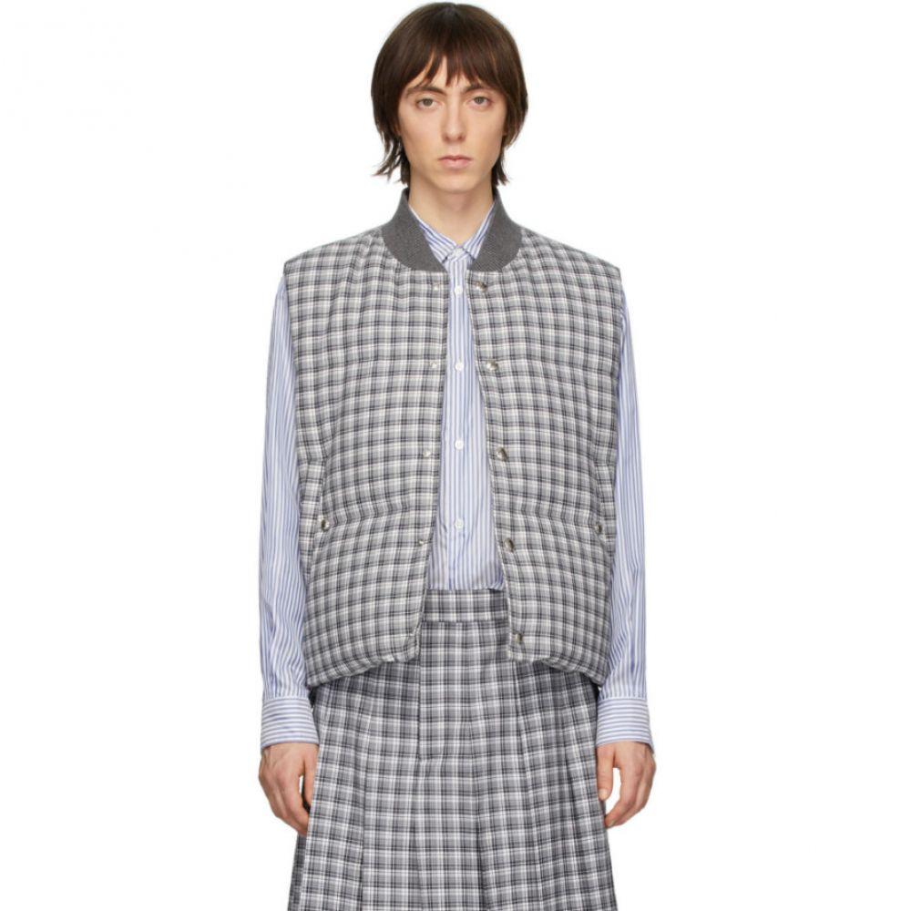 トム ブラウン Thom Browne メンズ ベスト・ジレ ダウンベスト トップス【Grey Down Buffalo Check Vest】Medium grey