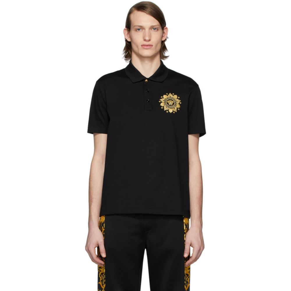 ヴェルサーチ Versace メンズ ポロシャツ メデューサ トップス【Black Embroidered Medusa Polo】Black