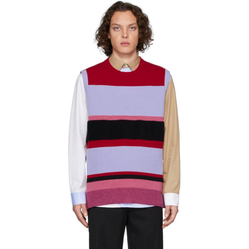 J.W.アンダーソン JW Anderson メンズ ベスト・ジレ トップス【Red & Blue Wide Stripe Vest】Purple