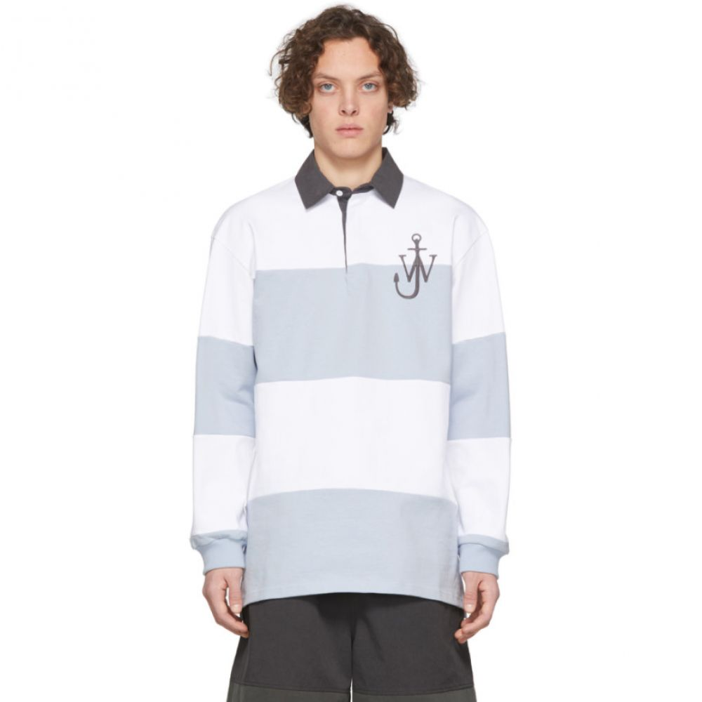 J.W.アンダーソン JW Anderson メンズ ポロシャツ トップス【White & Blue Rugby Polo】Glacier blue