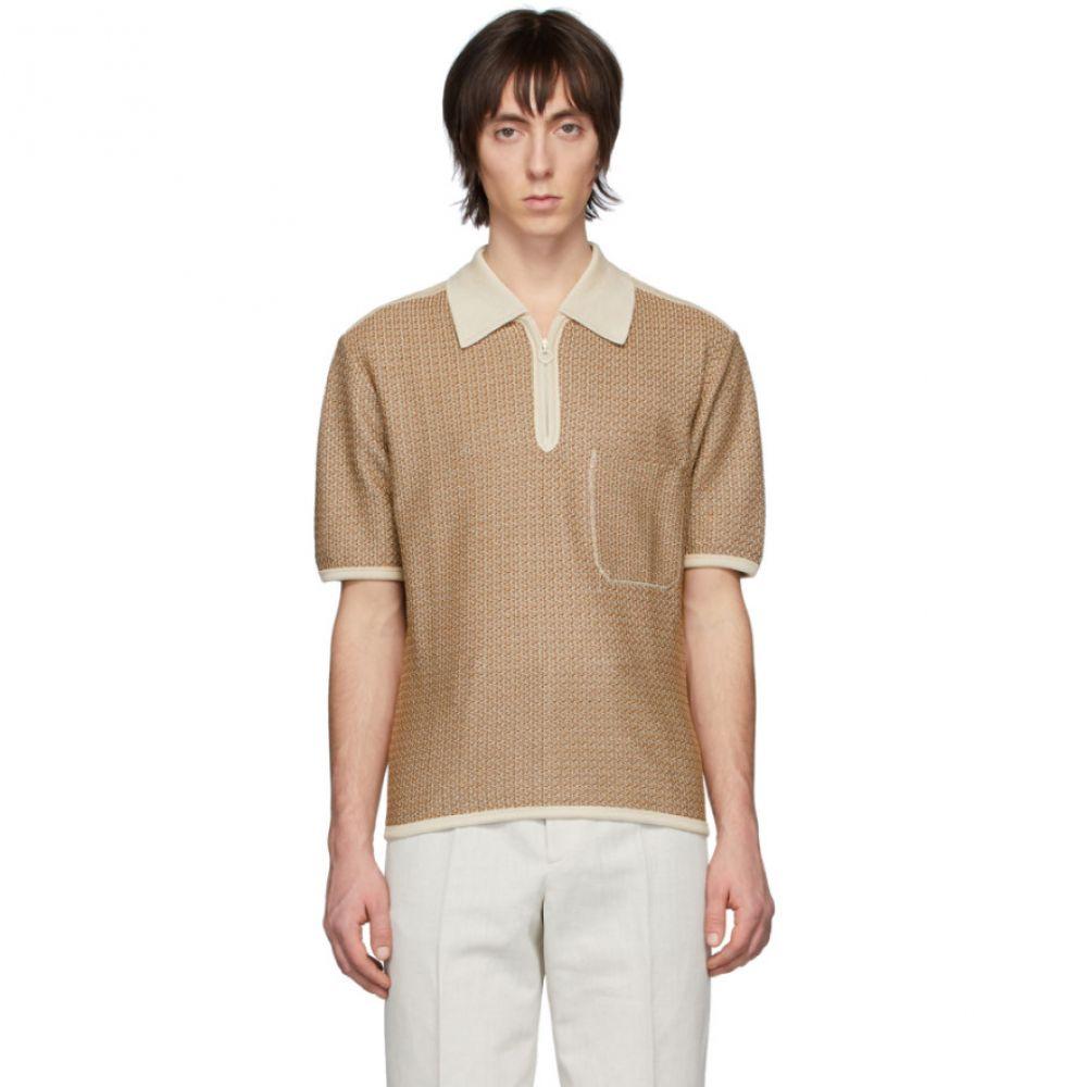 ルメール Lemaire メンズ ポロシャツ トップス【Brown & Off-White Knitted Polo】Ecru/Brown