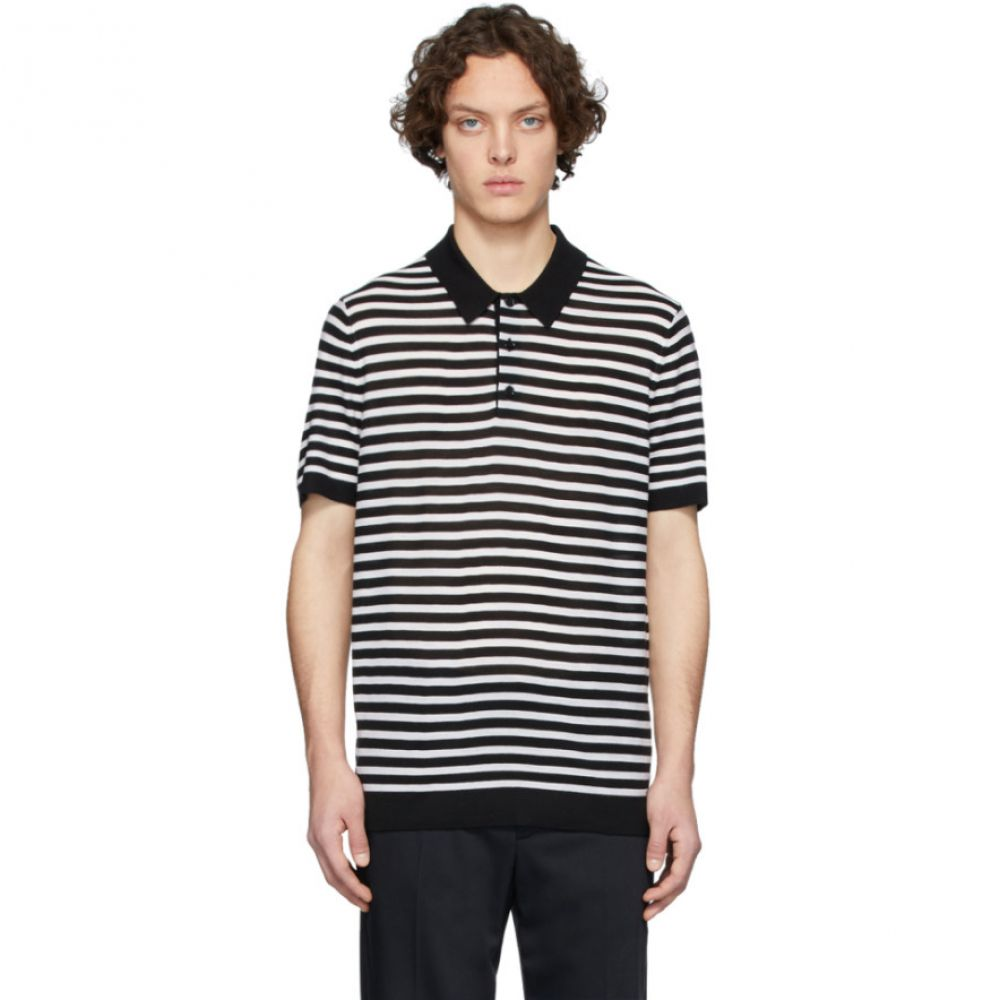 ジョゼフ Joseph メンズ ポロシャツ トップス【Black & White Merino Stripe Polo】Black