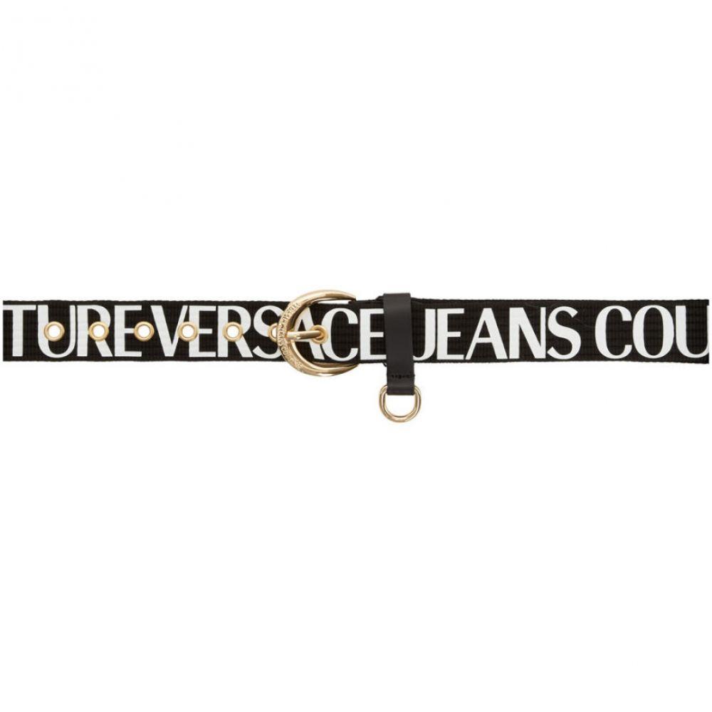ヴェルサーチ Versace Jeans Couture メンズ ベルト 【Black Logo Belt】Black/Gold