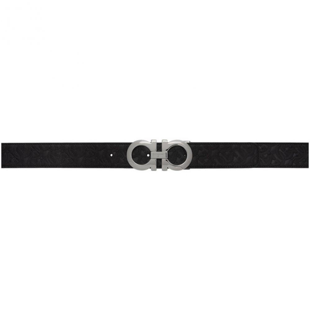 サルヴァトーレ フェラガモ Salvatore Ferragamo メンズ ベルト 【Reversible Black Gancini Embossed Belt】Black/Palladium