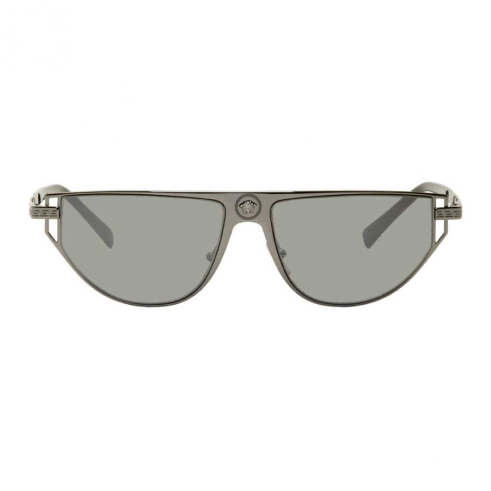 ヴェルサーチ Versace メンズ メガネ・サングラス 【Gunmetal Grecamania Visor Sunglasses】Gunmetal/Grey