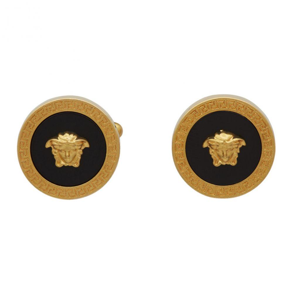 ヴェルサーチ Versace メンズ カフス・カフリンクス メデューサ【Black & Gold Medusa Icon Cufflinks】Black/Gold