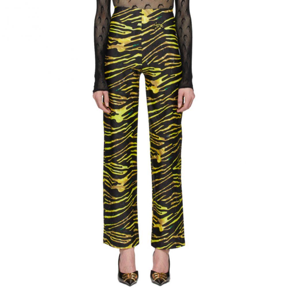 マリーン セル Marine Serre レディース ヨガ・ピラティス ボトムス・パンツ【Black & Yellow Yoga Lounge Pants】Amphibia