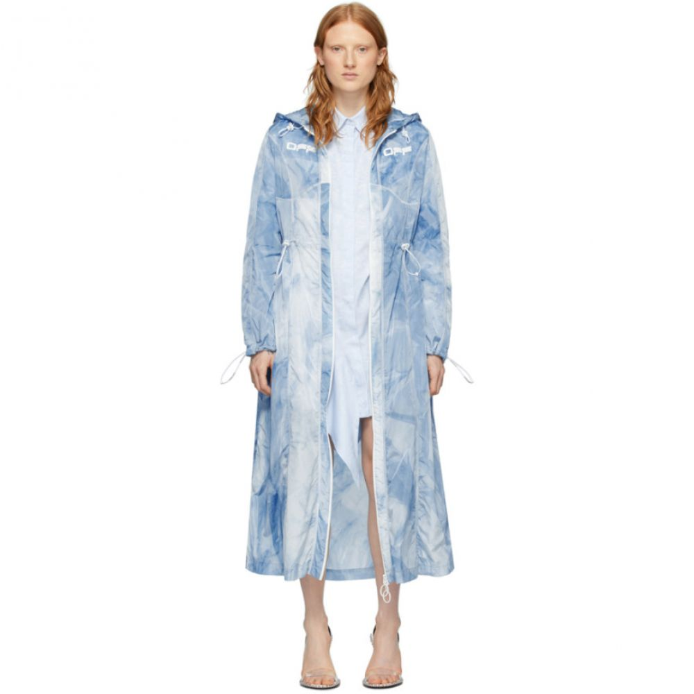 オフホワイト Off-White レディース コート アウター【Blue Tie-Dye Rain Coat】All over