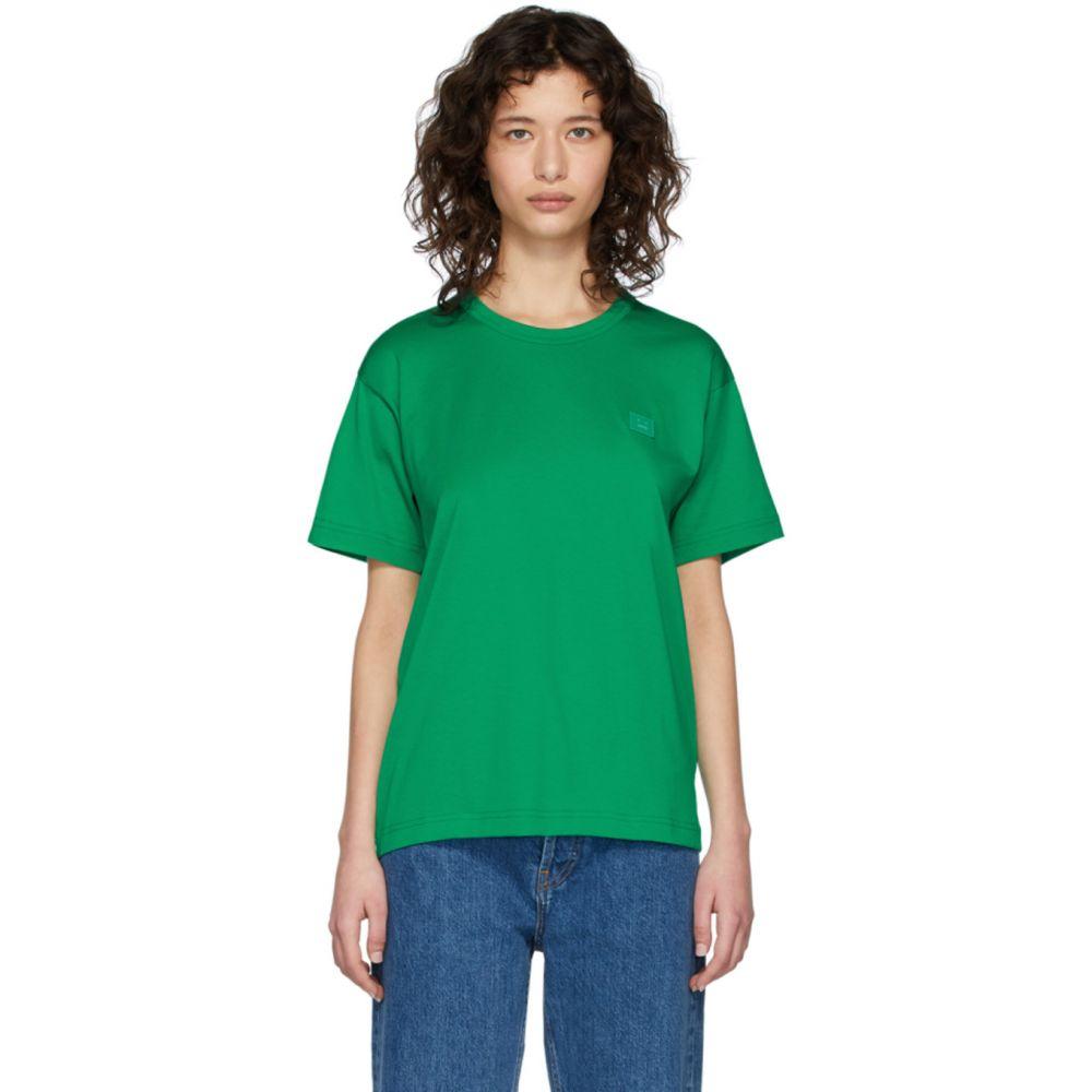 アクネ ストゥディオズ Acne Studios レディース Tシャツ トップス【Green Nash Face T-Shirt】Emerald green