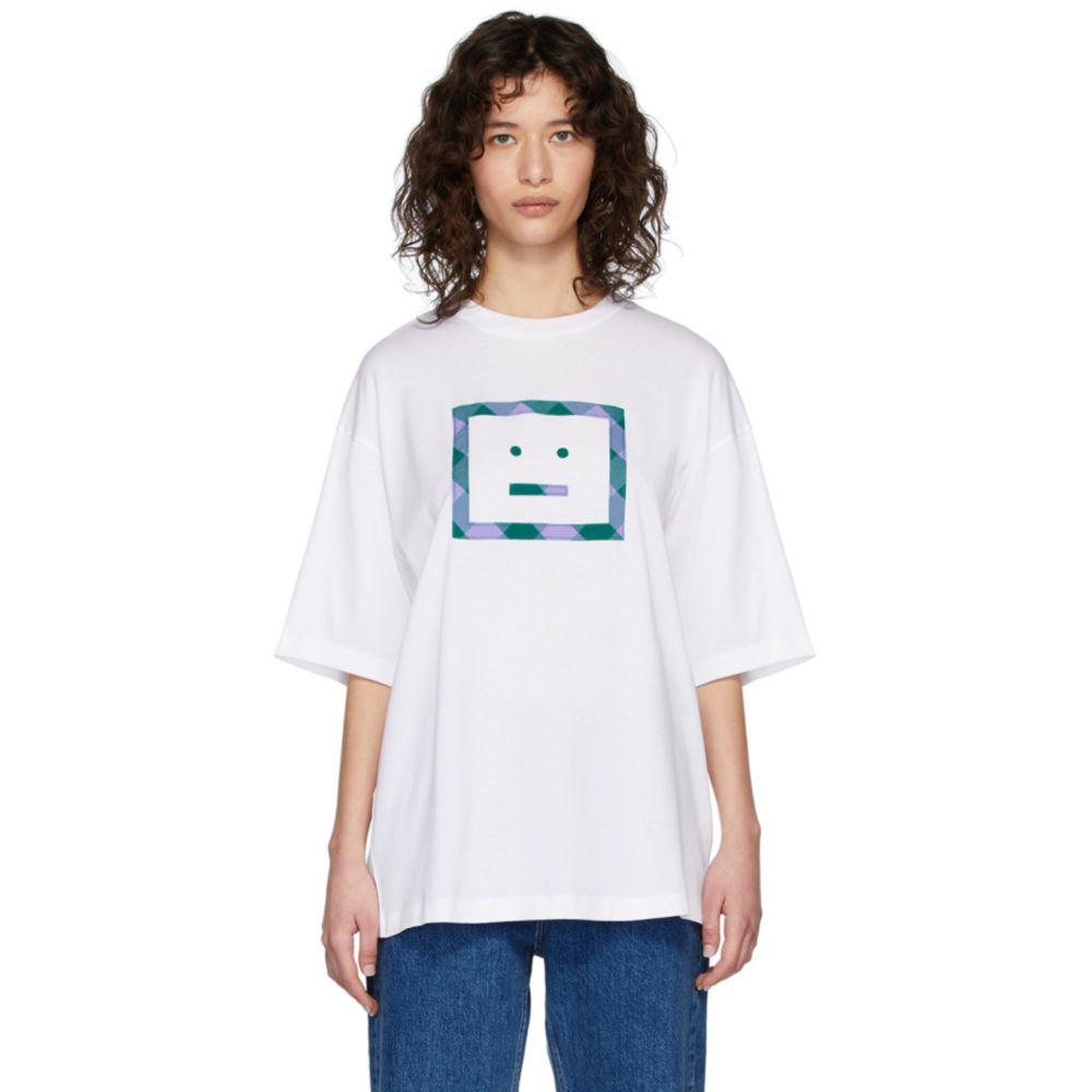 アクネ ストゥディオズ Acne Studios レディース Tシャツ トップス【White Erian Check Face T-Shirt】Optic white