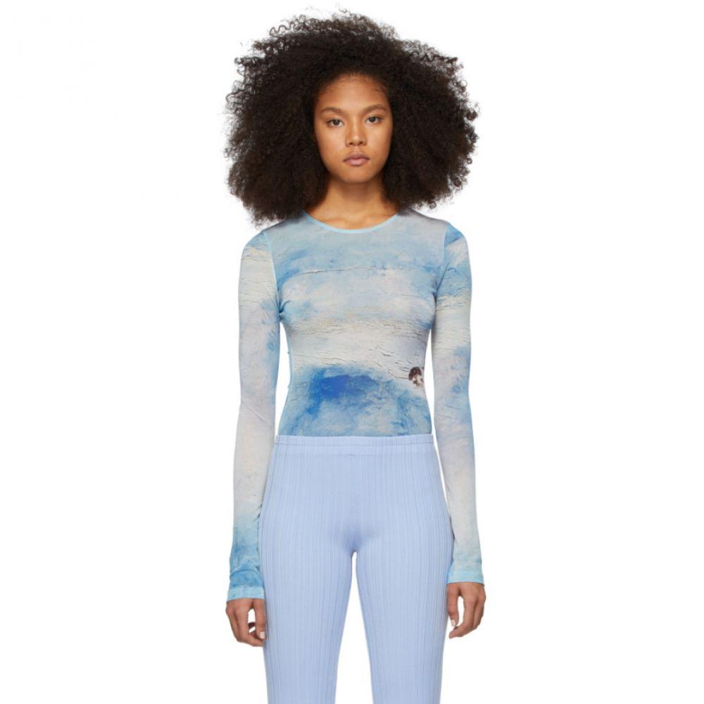アクネ ストゥディオズ Acne Studios レディース 長袖Tシャツ トップス【Blue Estah Long Sleeve T-Shirt】Blue/White
