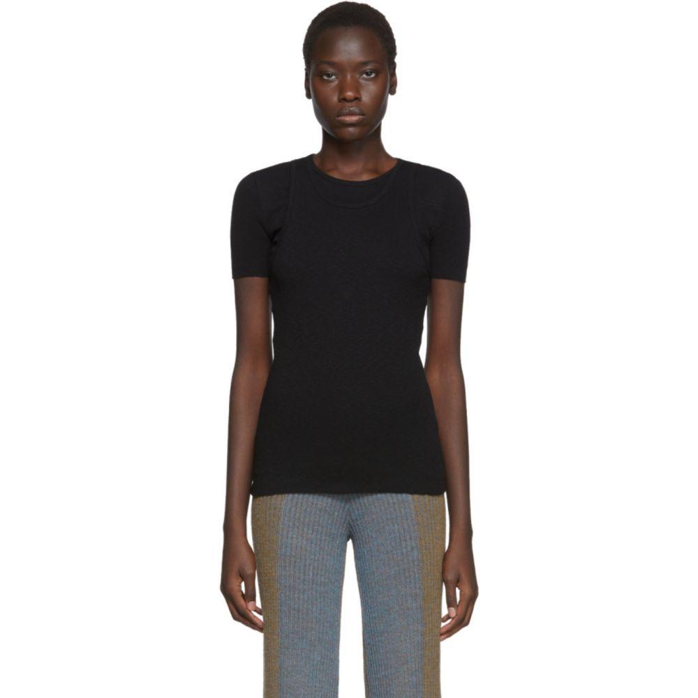 ヘルムート ラング Helmut Lang レディース Tシャツ トップス【Black Double Layer T-Shirt】Black