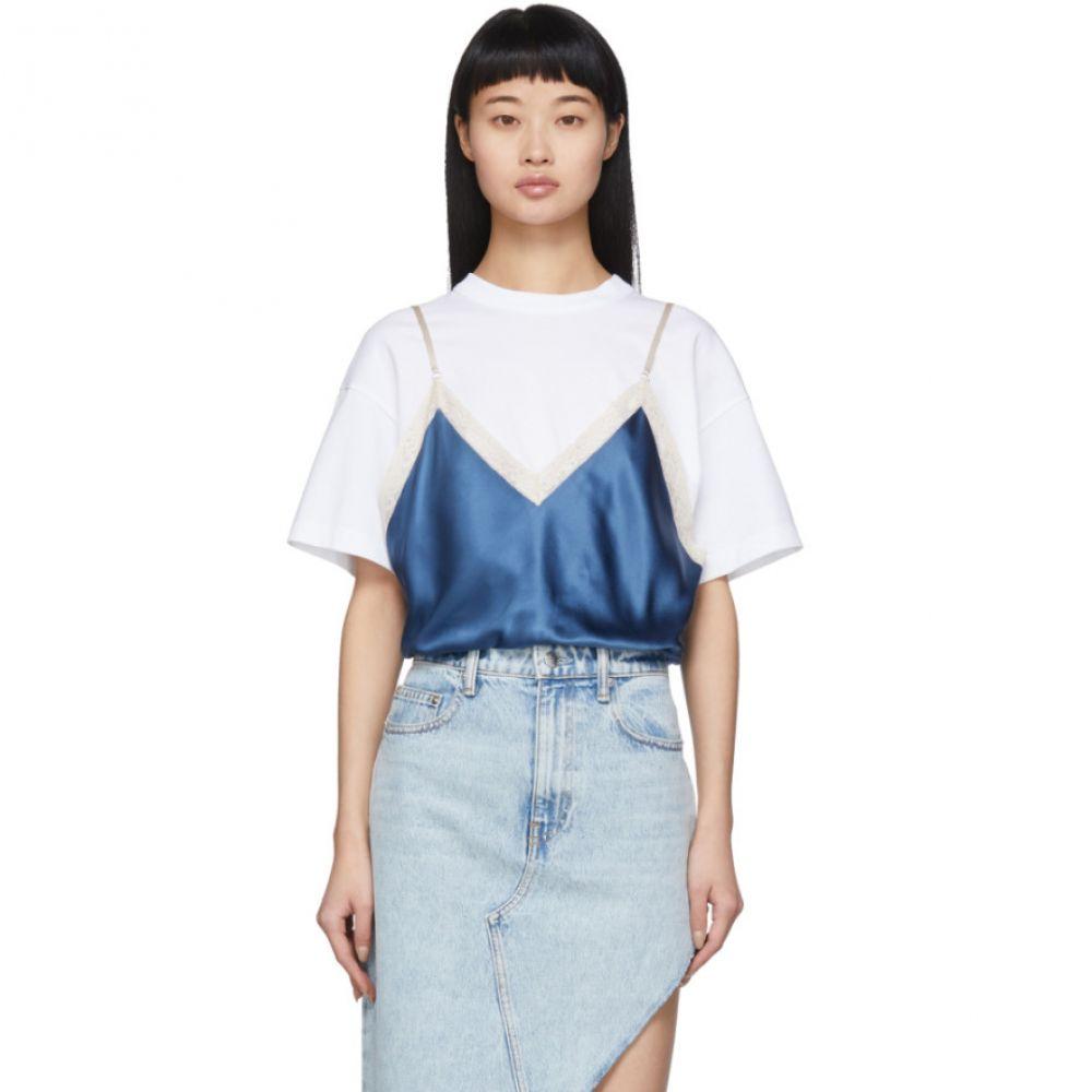 アレキサンダー ワン Alexander Wang レディース スリップ・キャミソール インナー・下着【White & Blue Silk Camisole Overlay T-Shirt】Petal blue