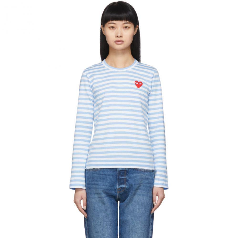 コム デ ギャルソン Comme des Garcons Play レディース 長袖Tシャツ トップス【Blue & White Striped Heart Patch Long Sleeve T-Shirt】Blue