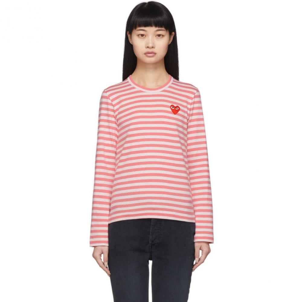 コム デ ギャルソン Comme des Garcons Play レディース 長袖Tシャツ トップス【Pink & White Striped Heart Patch Long Sleeve T-Shirt】Pink