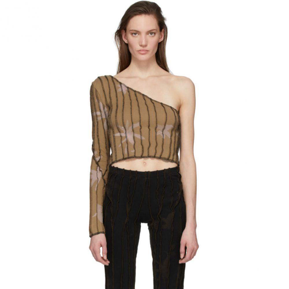 ヘレナマンツァーノ Helenamanzano レディース Tシャツ トップス【SSENSE Exclusive Beige One Shoulder T-Shirt】Beige