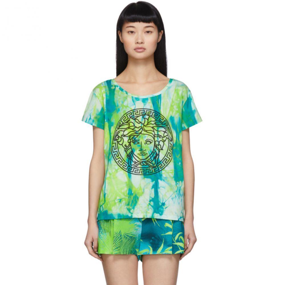 ヴェルサーチ Versace レディース Tシャツ メデューサ トップス【Green Watercolor Medusa T-Shirt】Green