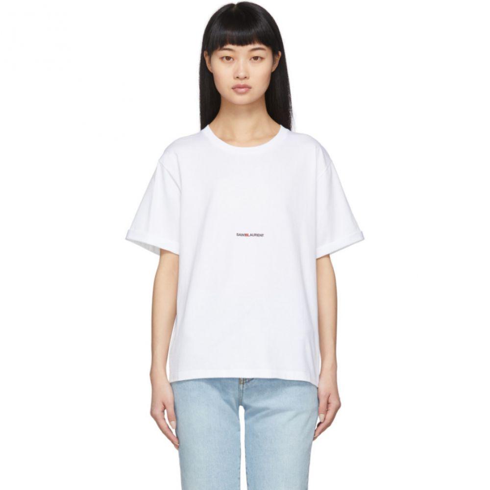 イヴ サンローラン Saint Laurent レディース Tシャツ トップス【White Logo T-Shirt】White