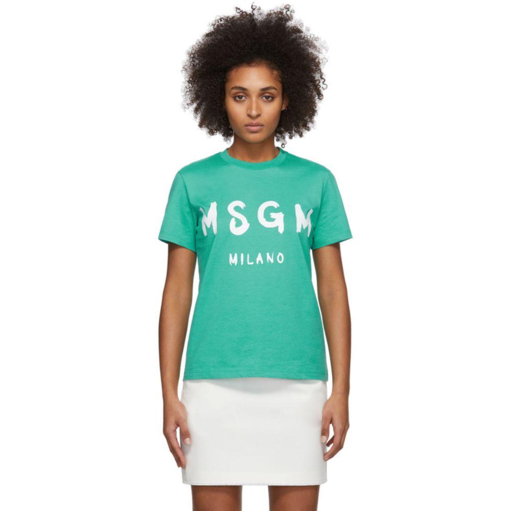 エムエスジーエム MSGM レディース Tシャツ トップス【Green Artist Logo T-Shirt】Mint green