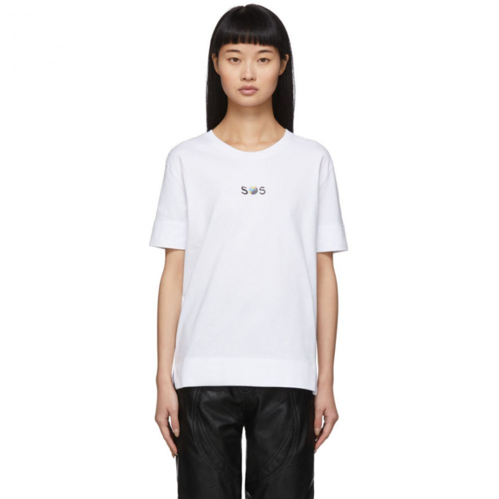 ステラ マッカートニー Stella McCartney レディース Tシャツ トップス【White We Are The Weather 'SOS' T-Shirt】Pure white