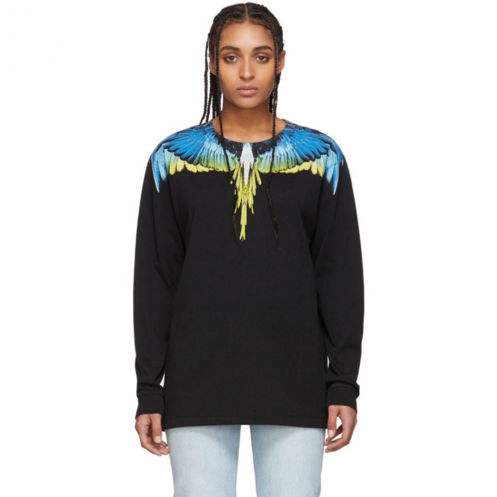 マルセロバーロン Marcelo Burlon County of Milan レディース 長袖Tシャツ トップス【Black & Yellow Wings Long Sleeve T-Shirt】Black/Lime
