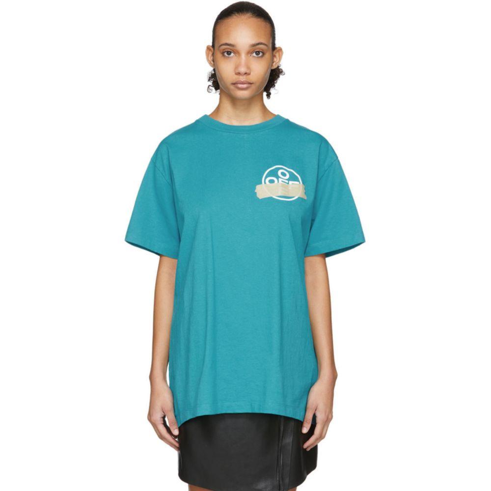 オフホワイト Off-White レディース Tシャツ トップス【Blue Tape Arrows T-Shirt】Blue/Beige