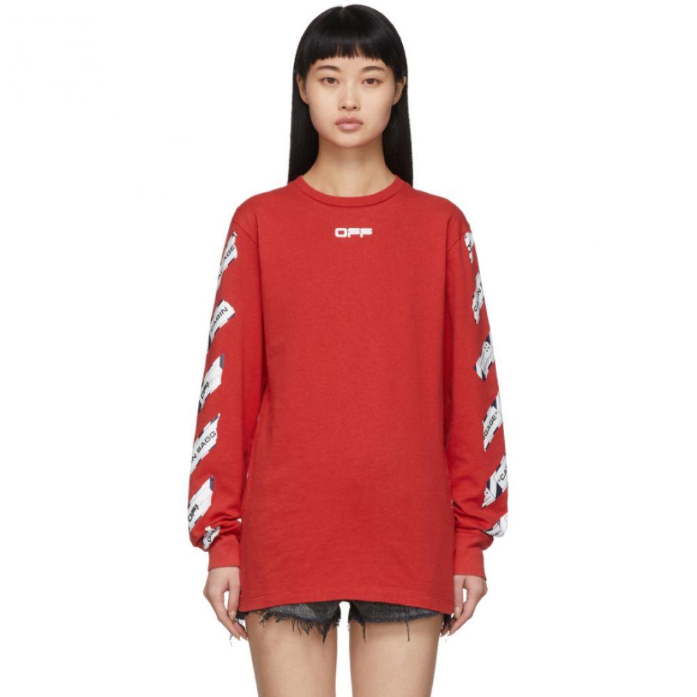 オフホワイト Off-White レディース 長袖Tシャツ トップス【Red Airport Tape Long Sleeve T-Shirt】Red/Multi