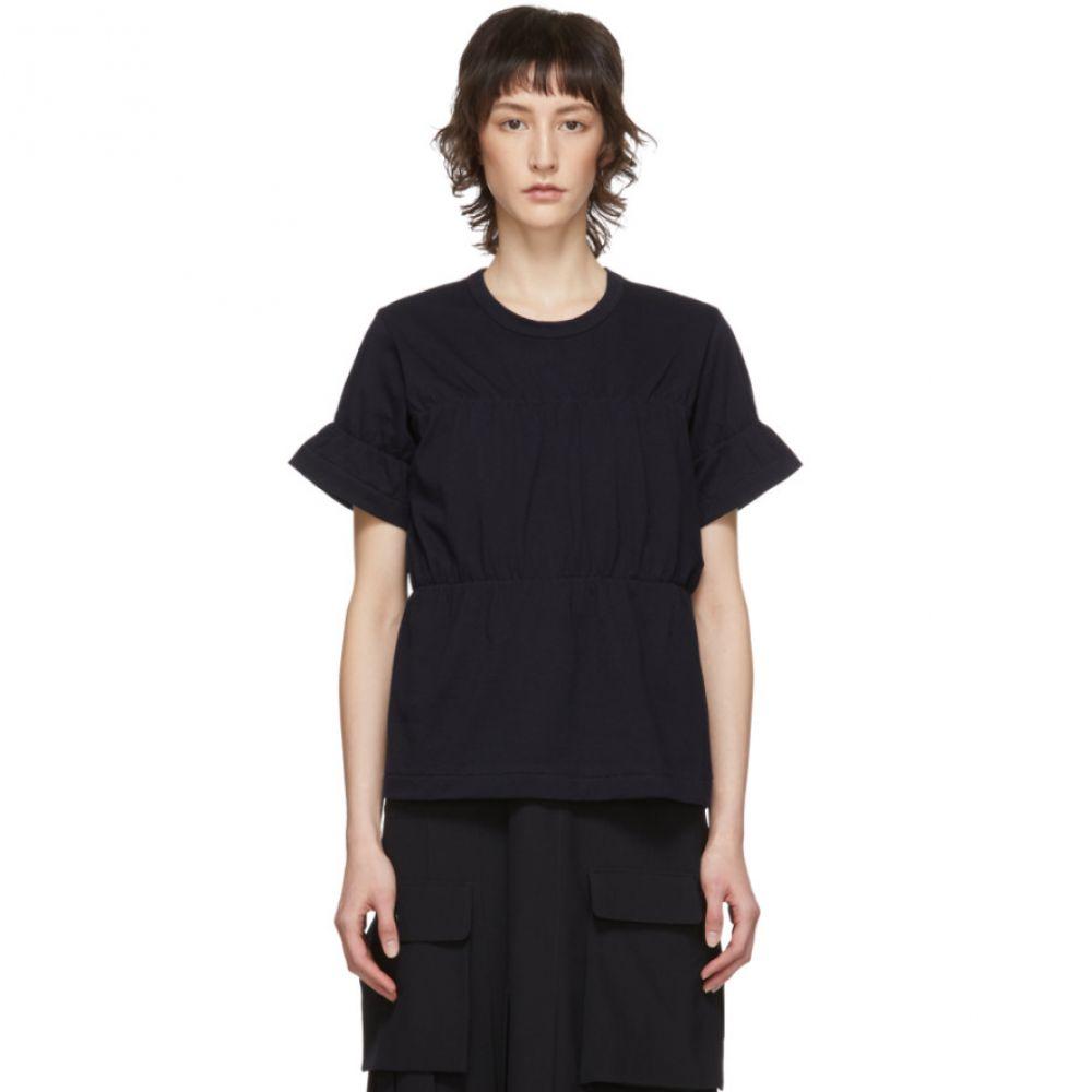 コム デ ギャルソン Comme des Garcons Comme des Garcons レディース Tシャツ トップス【Navy Ruched T-Shirt】Navy