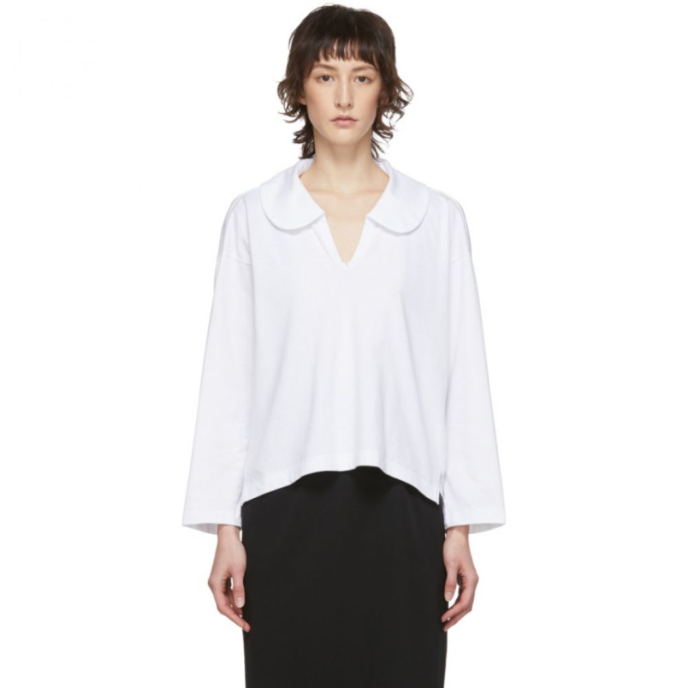 コム デ ギャルソン Comme des Garcons Comme des Garcons レディース 長袖Tシャツ トップス【White Peter Pan Collar Long Sleeve T-Shirt】White