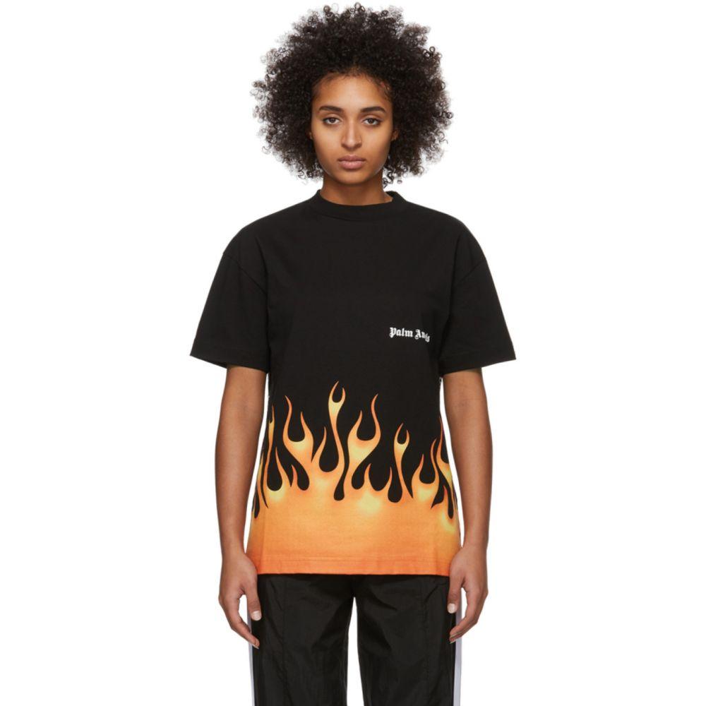 パーム エンジェルス Palm Angels レディース Tシャツ トップス【Black Flames T-Shirt】Black/Multicolor