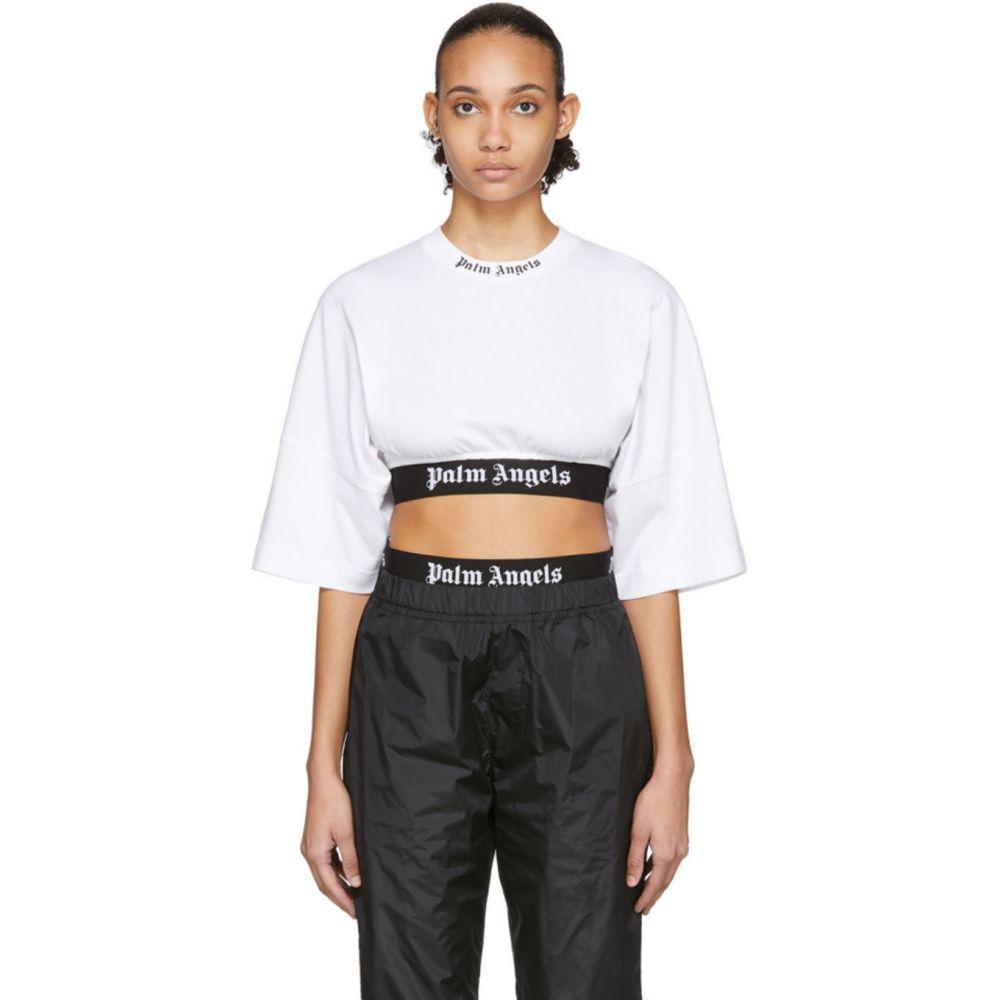 パーム エンジェルス Palm Angels レディース ベアトップ・チューブトップ・クロップド トップス【White Cropped Logo Over T-Shirt】White