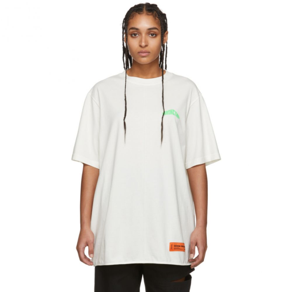 ヘロン プレストン Heron Preston レディース Tシャツ トップス【White Style Logo Over T-Shirt】White/Green