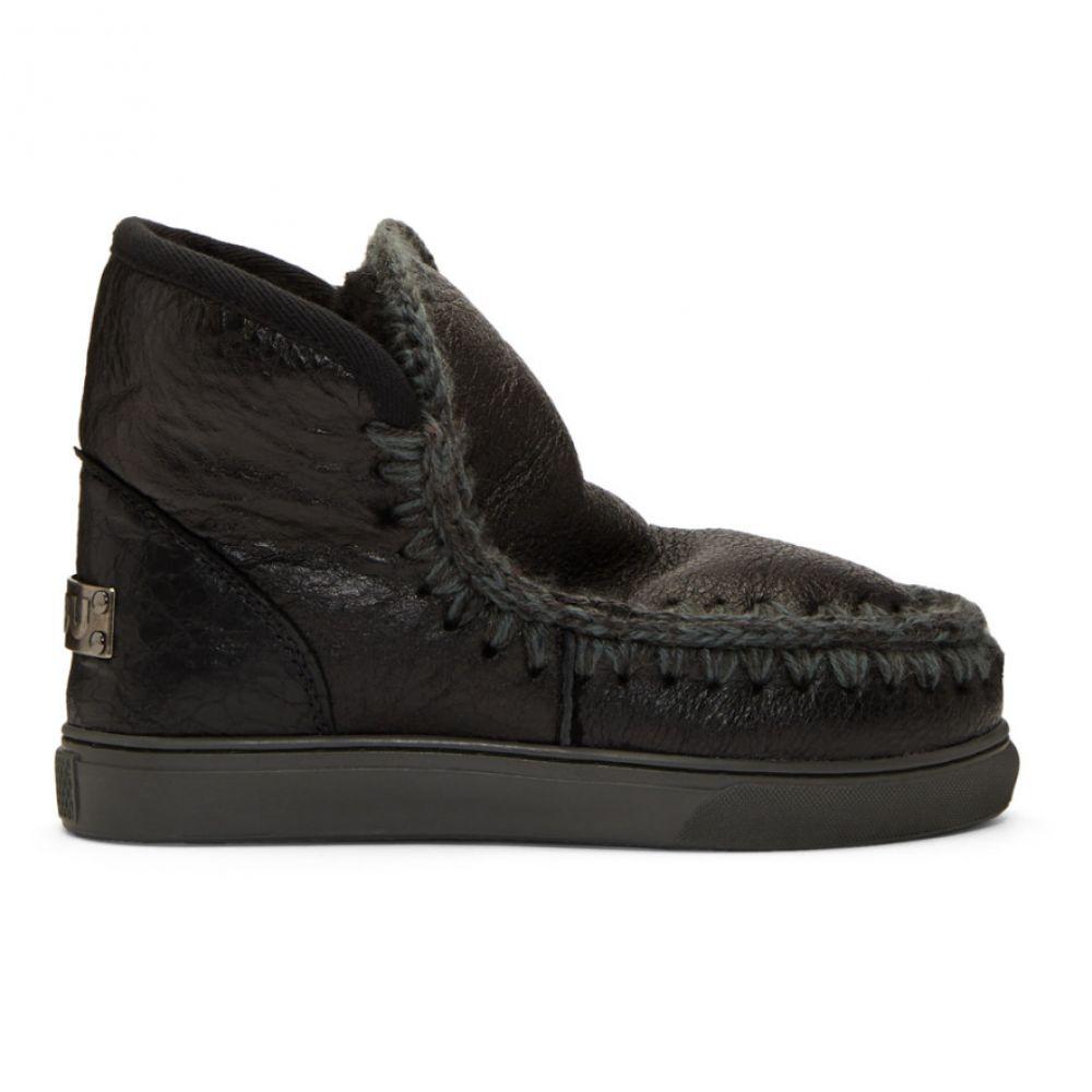 ムー Mou レディース ブーツ シューズ・靴【Black Mini Sneaker Boots】Wax black