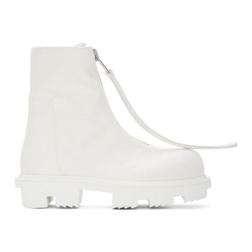 リック オウエンス Rick Owens Drkshdw レディース ブーツ シューズ・靴【White Megatooth Zip Boots】Chalk white