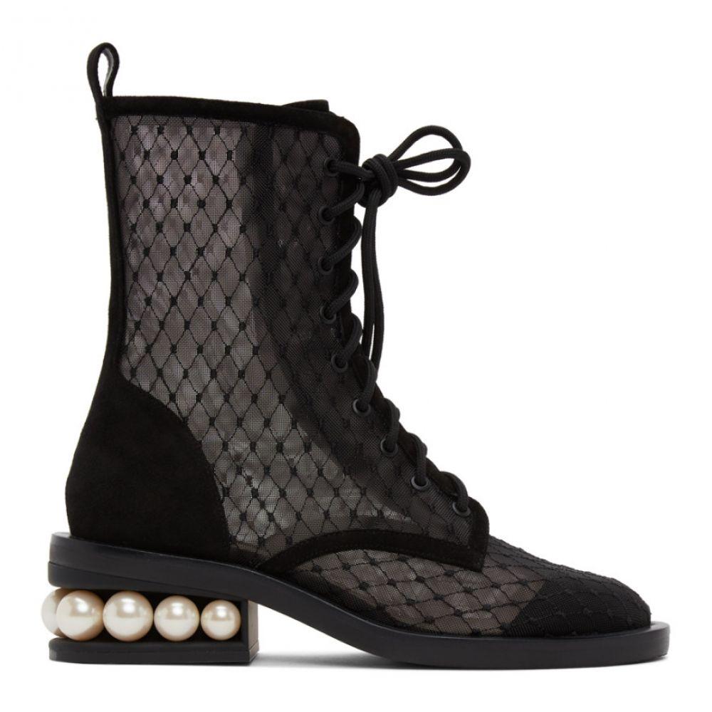 ニコラス カークウッド Nicholas Kirkwood レディース ブーツ コンバットブーツ シューズ・靴【Black Mesh Casati Pearl 35 Combat Boots】Black