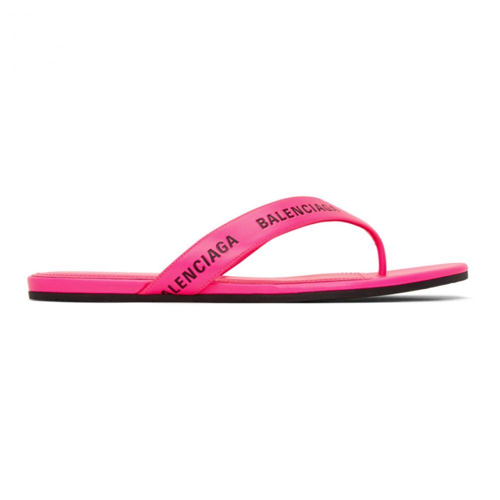 バレンシアガ Balenciaga レディース サンダル・ミュール シューズ・靴【Pink Logo Thong Sandals】Neon pink