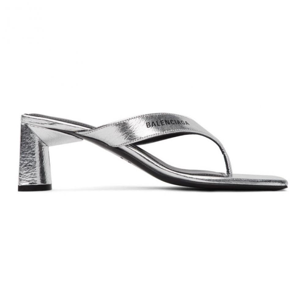 バレンシアガ Balenciaga レディース ビーチサンダル シューズ・靴【Silver Flip Flop Heels】Silver