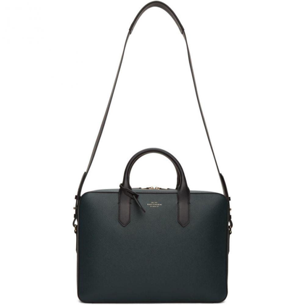 スマイソン Smythson メンズ ビジネスバッグ・ブリーフケース バッグ【Green Leather Slim Panama Briefcase】Sage grey