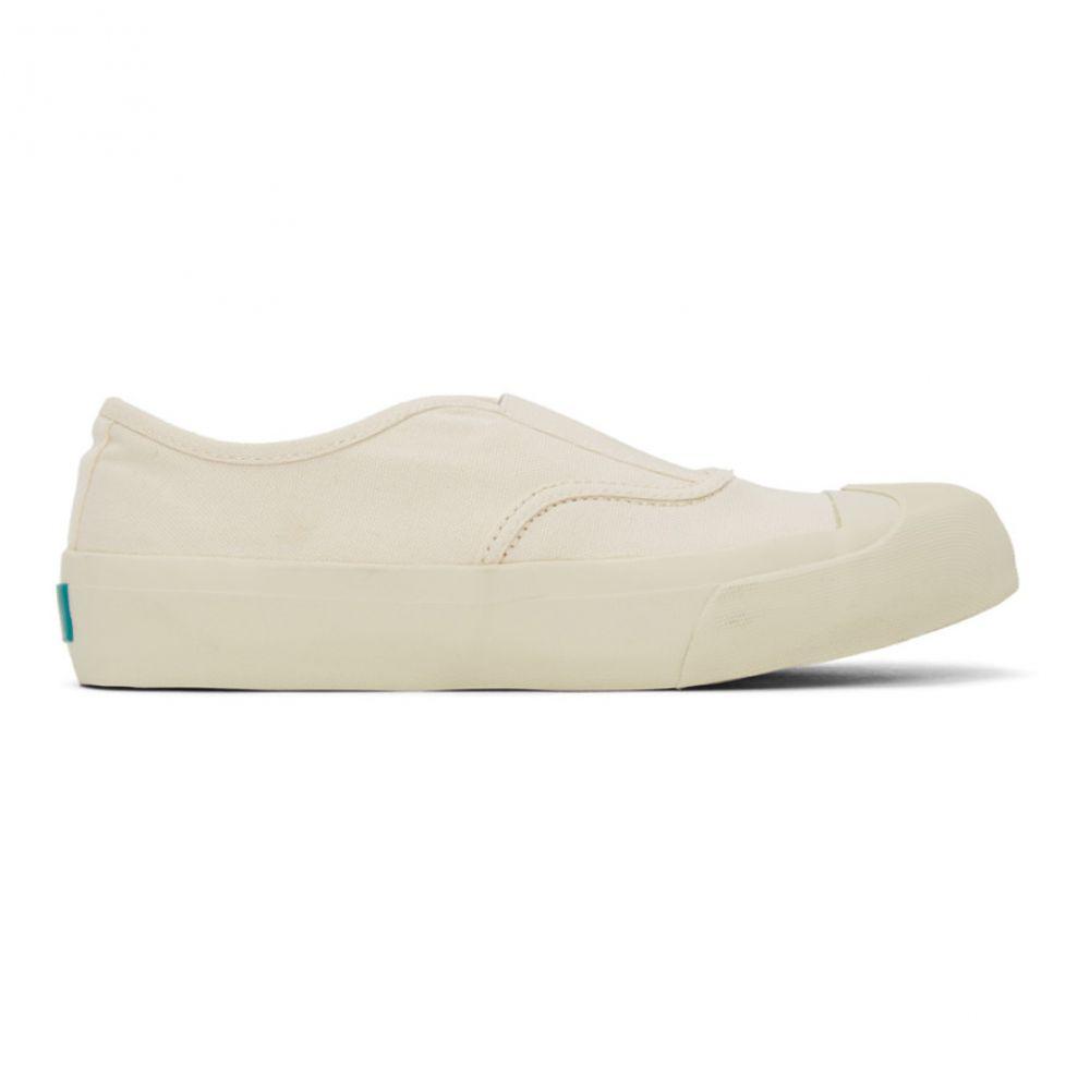 ワイエムシー YMC レディース スリッポン・フラット ウイングチップ シューズ・靴【Off-White Wingtip Slip-On Sneakers】Ecru
