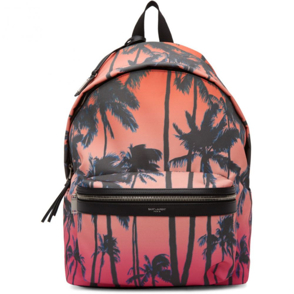 イヴ サンローラン Saint Laurent メンズ バックパック・リュック バッグ【Multicolor Dip-Dye Palm Print City Backpack】Sunset