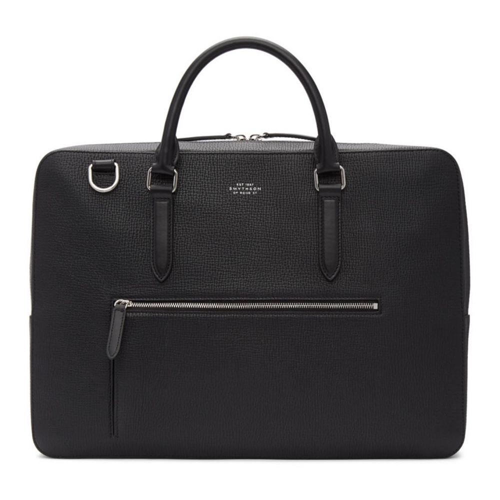 スマイソン Smythson メンズ ビジネスバッグ・ブリーフケース バッグ【Black Large Grain Front Zip Briefcase】Black