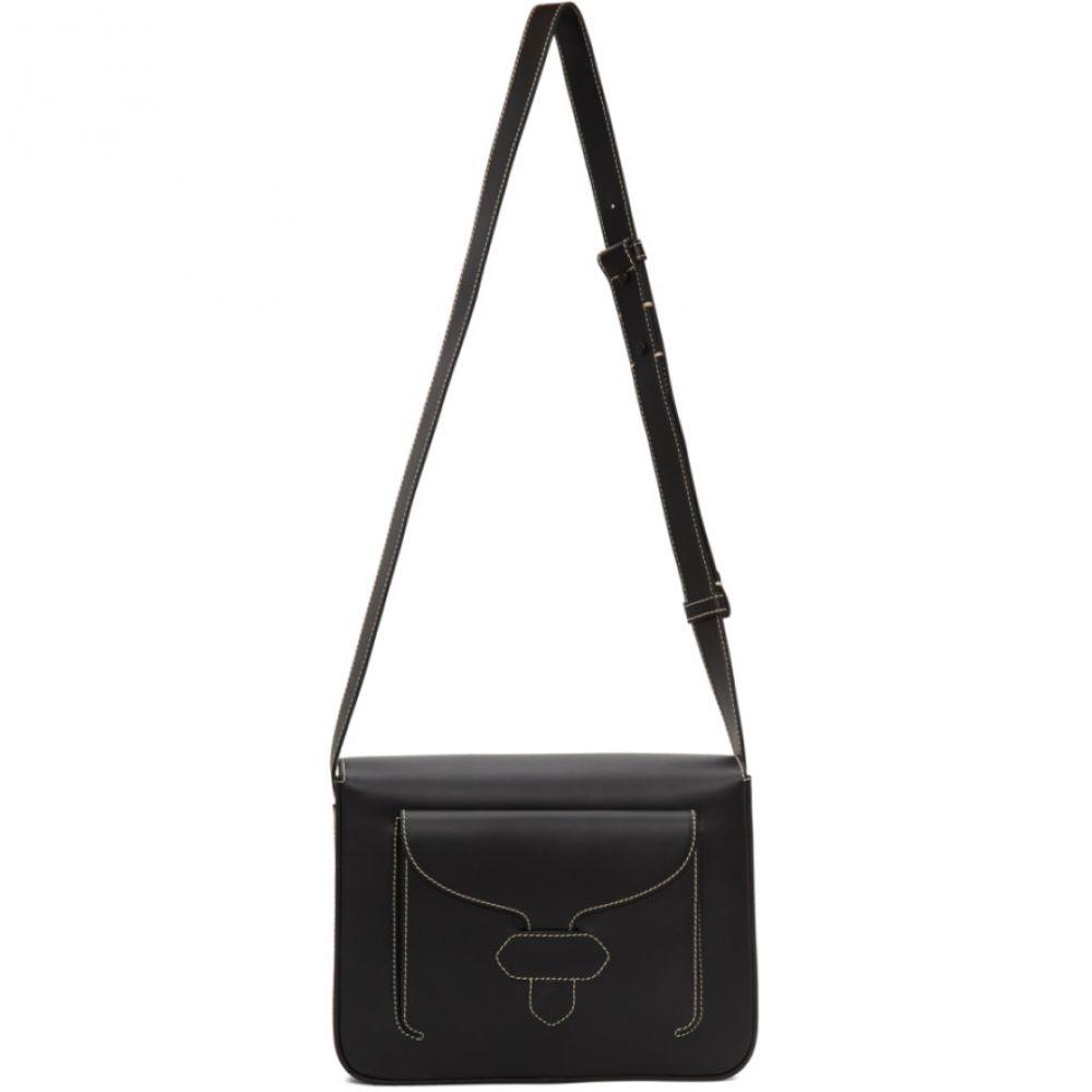メゾン マルジェラ Maison Margiela メンズ メッセンジャーバッグ バッグ【Black Leather Stitch Messenger Bag】Black