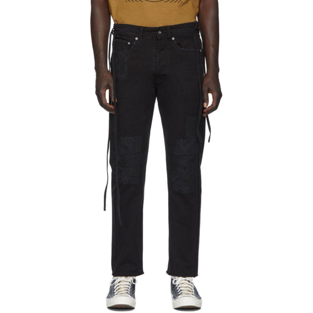 ヴァイナー アーティクルズ Vyner Articles メンズ ジーンズ・デニム ボトムス・パンツ【Black Canvas Bandana Patches Karate Jeans】Black