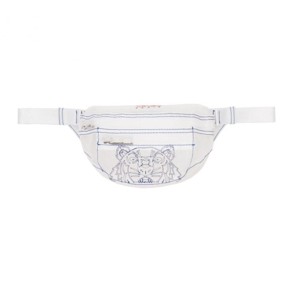 ケンゾー Kenzo メンズ ボディバッグ・ウエストポーチ バッグ【White Mini Transparent Tiger Bum Bag】White