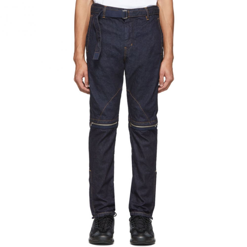 サカイ Sacai メンズ ジーンズ・デニム ボトムス・パンツ【Indigo Zip-Detail Belted Jeans】Indigo