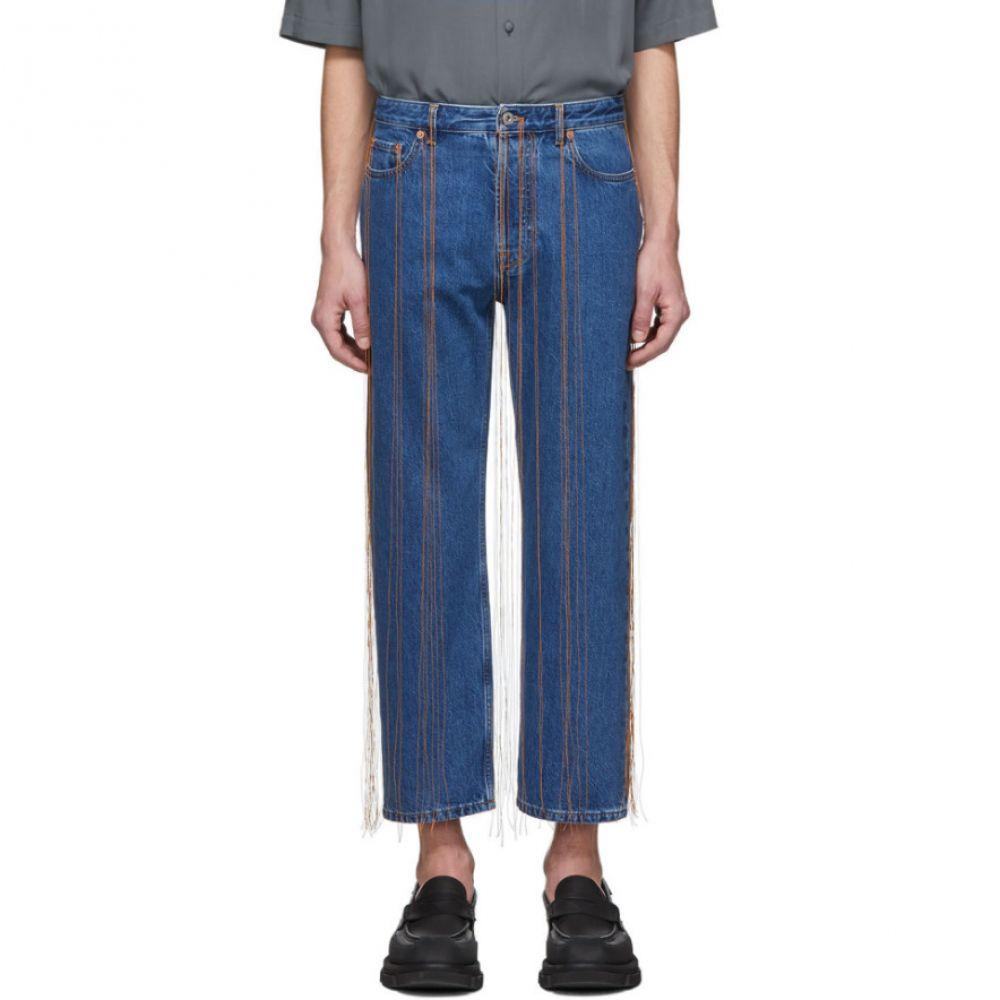 ヴァレンティノ Valentino メンズ ジーンズ・デニム ボトムス・パンツ【Navy Fringe Jeans】Navy